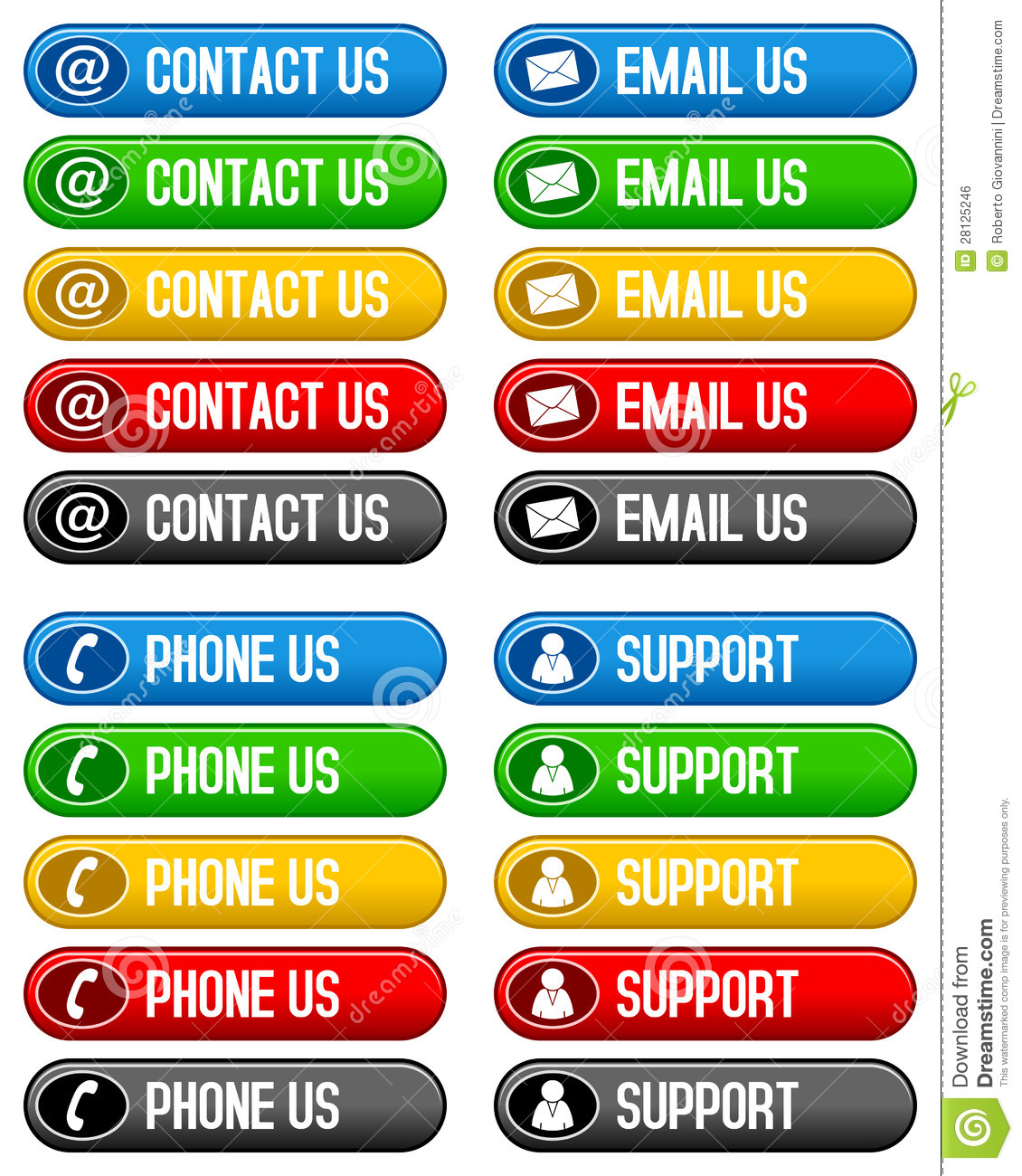 Contact Email Phone Us Buttons Royalty Free Stock Image - Image ...