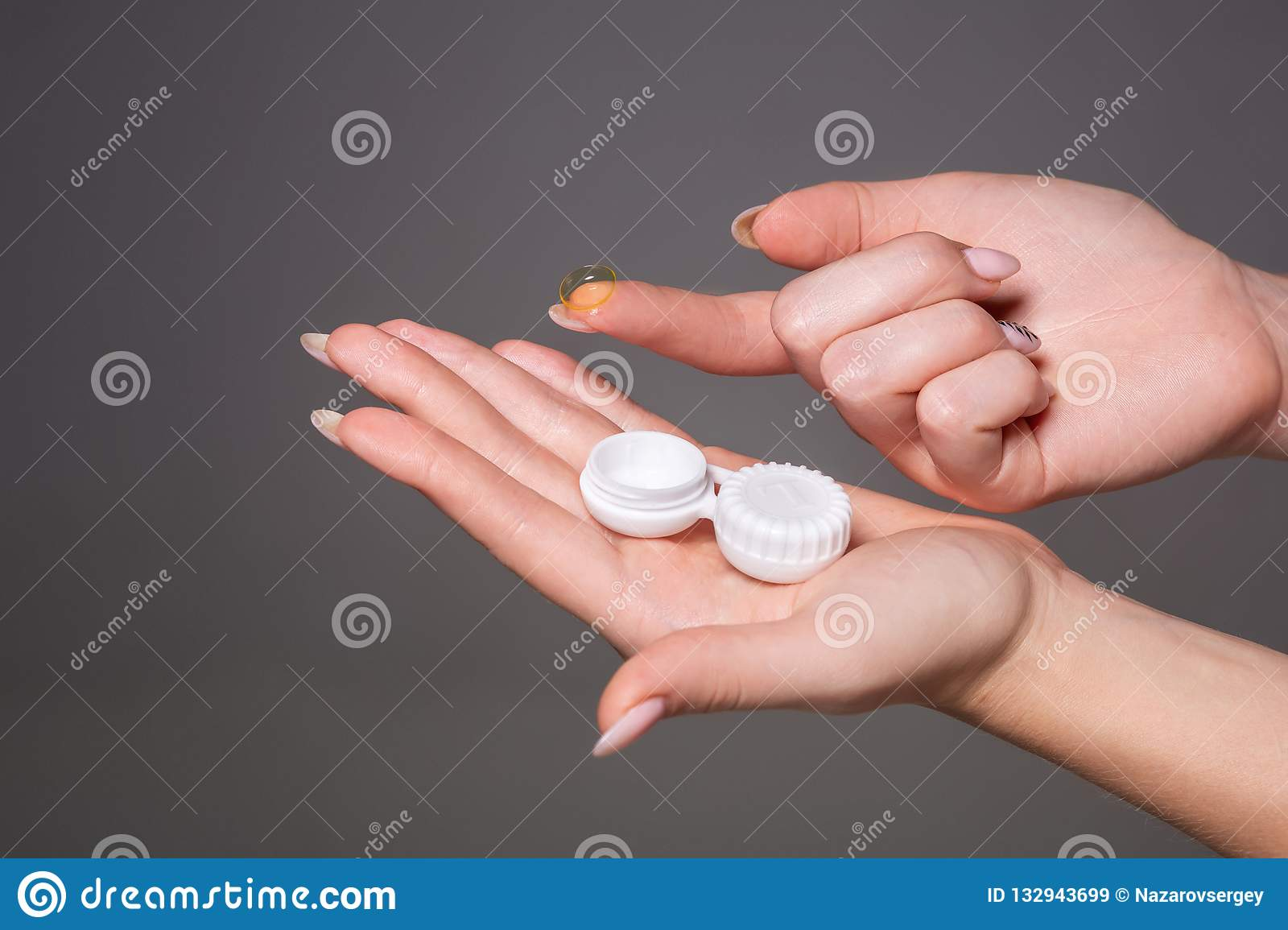 Contact Eye Lens Close Up Of Woman Hands Holding White