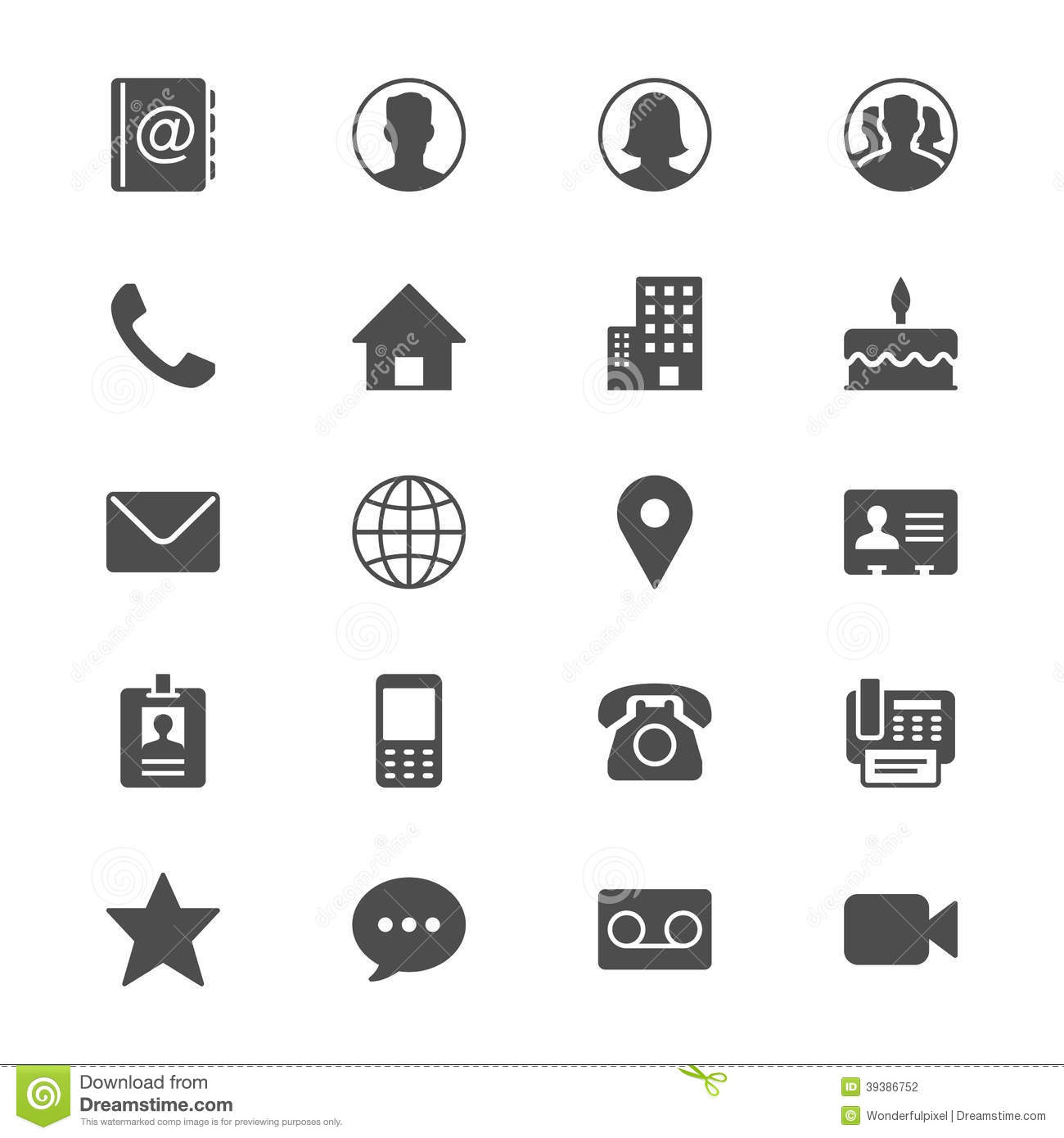 contact flat icons stock vector  image of phone  cake