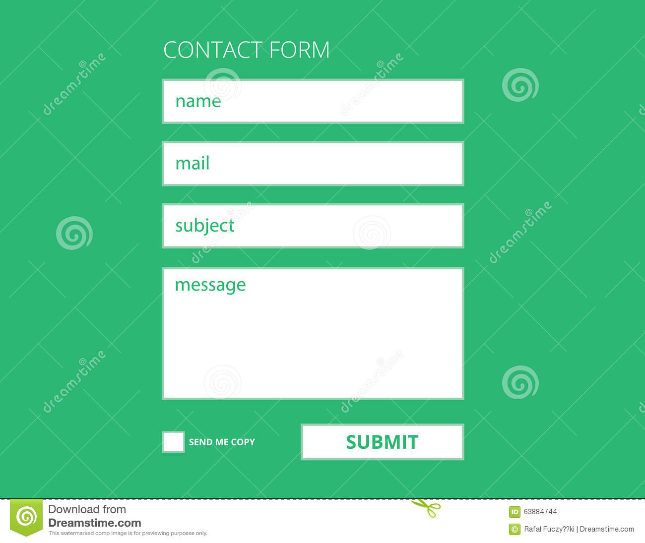 Contact form template stock vector. Illustration of register - 63884744