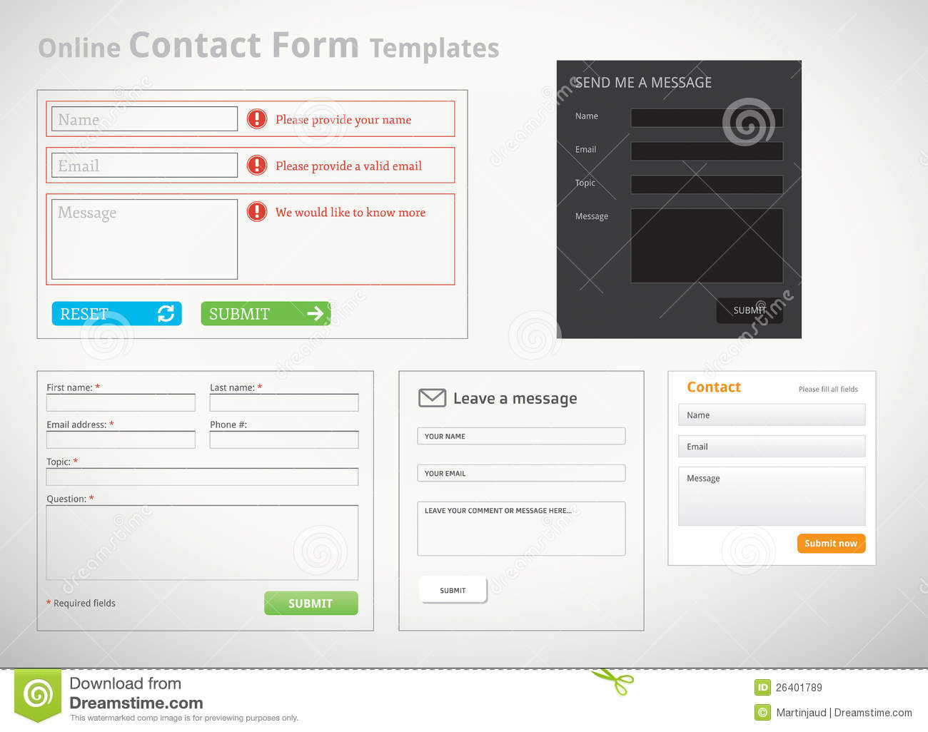 Contact Form Templates And Scribbles Royalty Free Stock Images ...