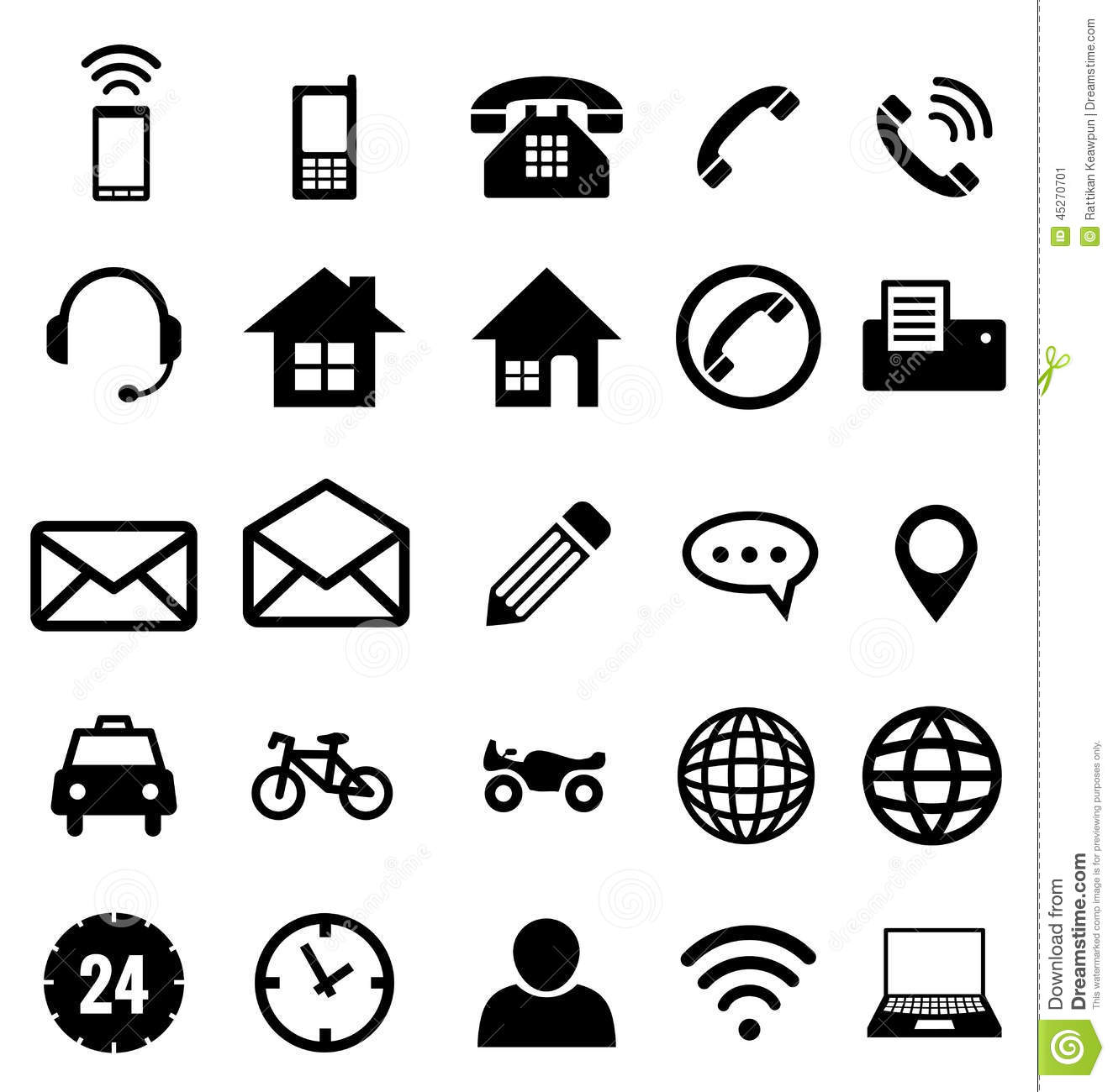Contact Icon Collection For Business Stock Vector Illustration Of