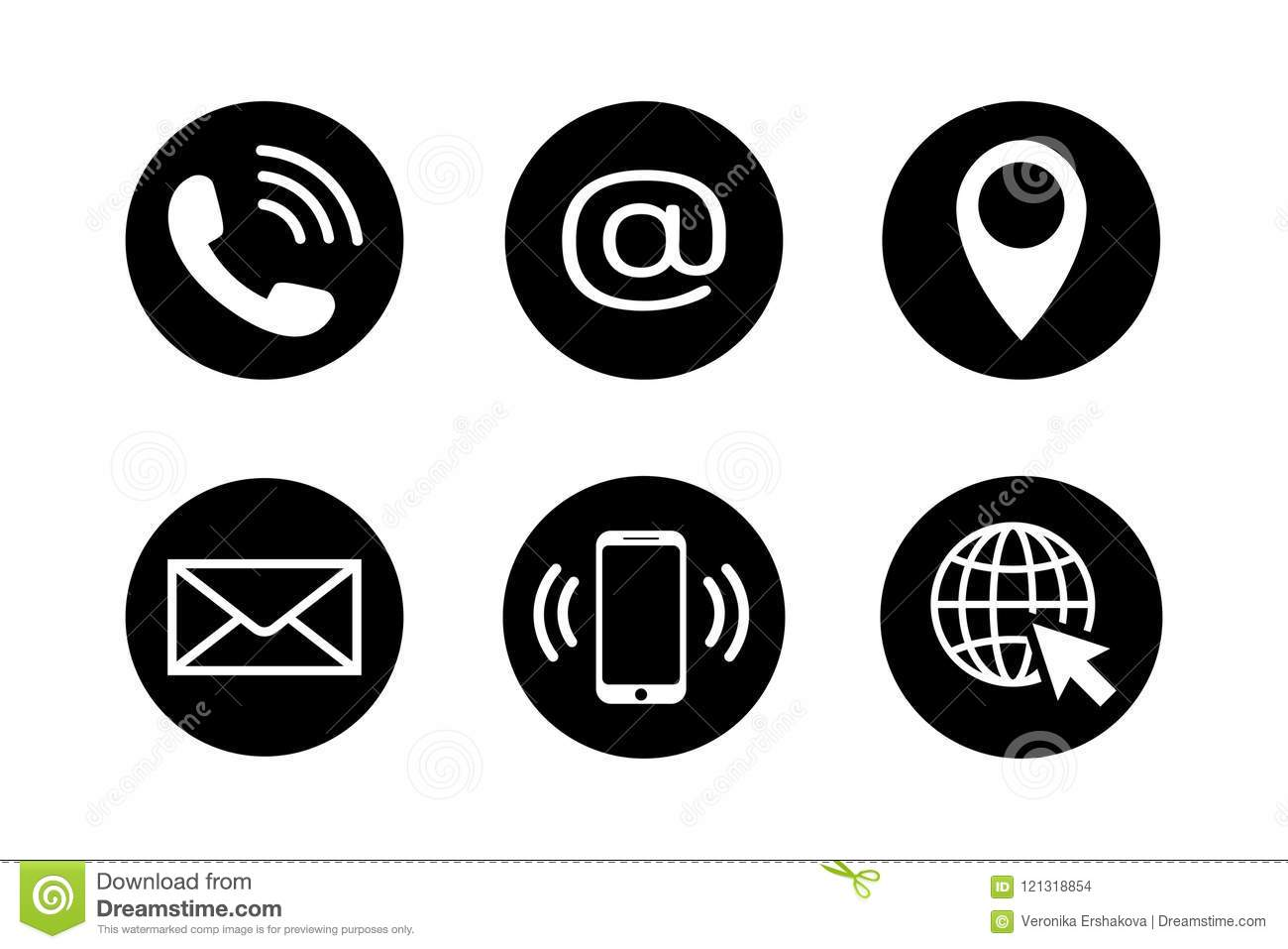contact icon set in flat style stock vector illustration telephone symbol clip art free download Telephone Clip Art Black and White