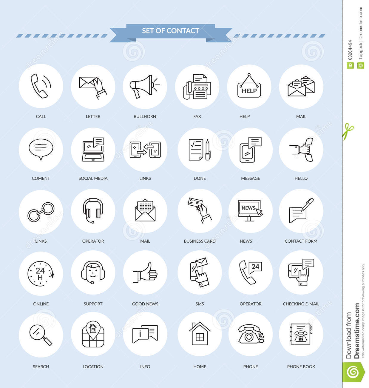 Contact icon set stock vector illustration of chat icon 68264494 reheart Gallery