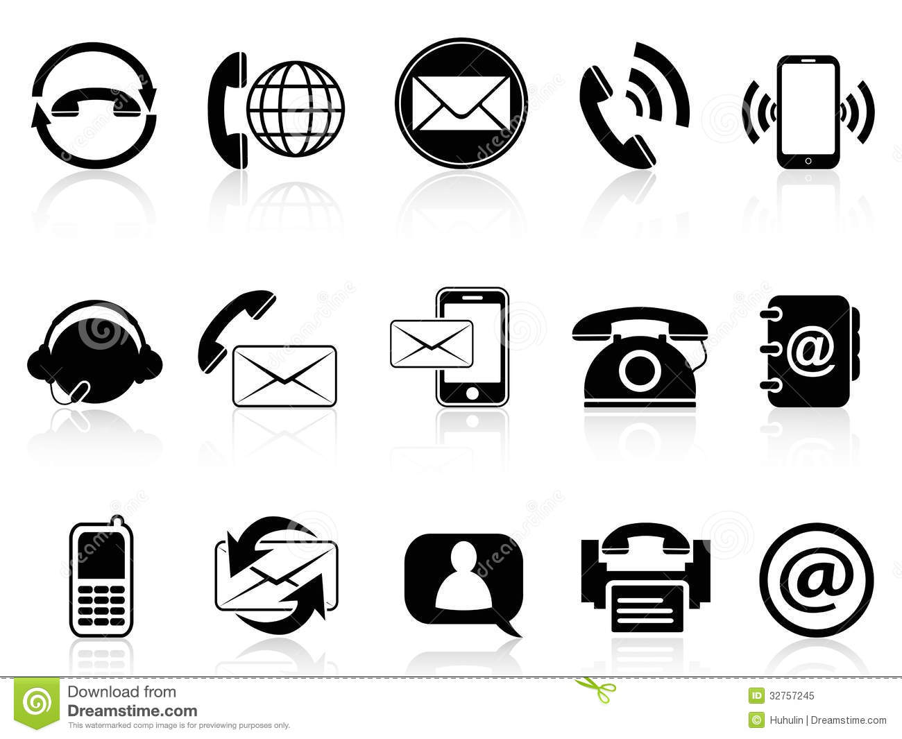 contact icons set stock vector  image of letter  concept