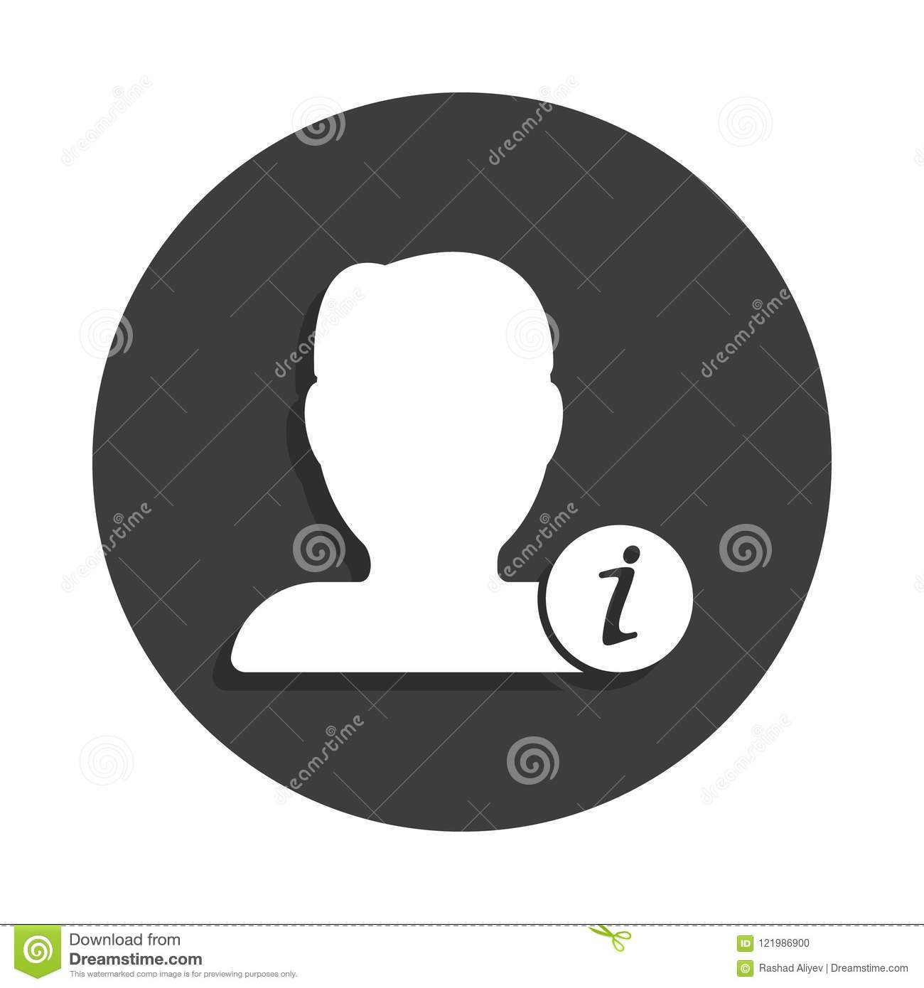 Contact Info Icon In Badge Style With Shadow Stock