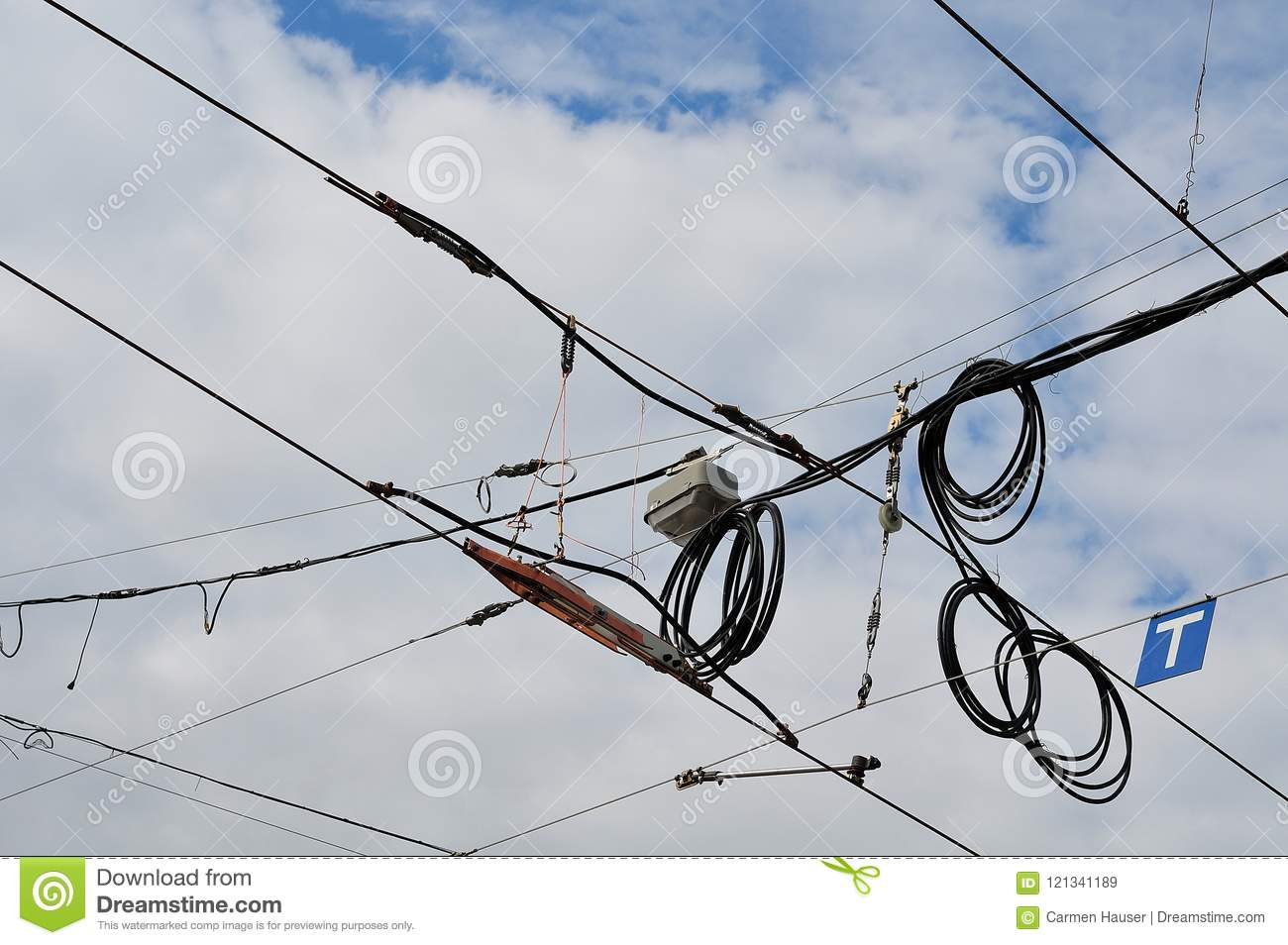 Contact lines for tramway stock image  Image of distribution