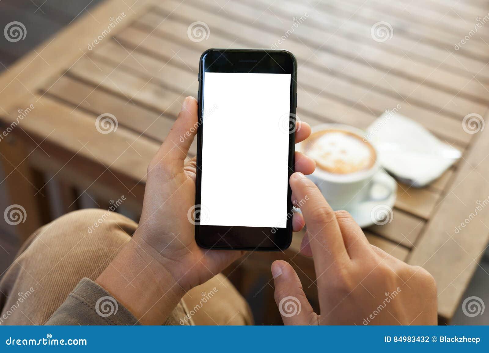 Contact mobile d écran vide et de doigt de téléphone de participation de main