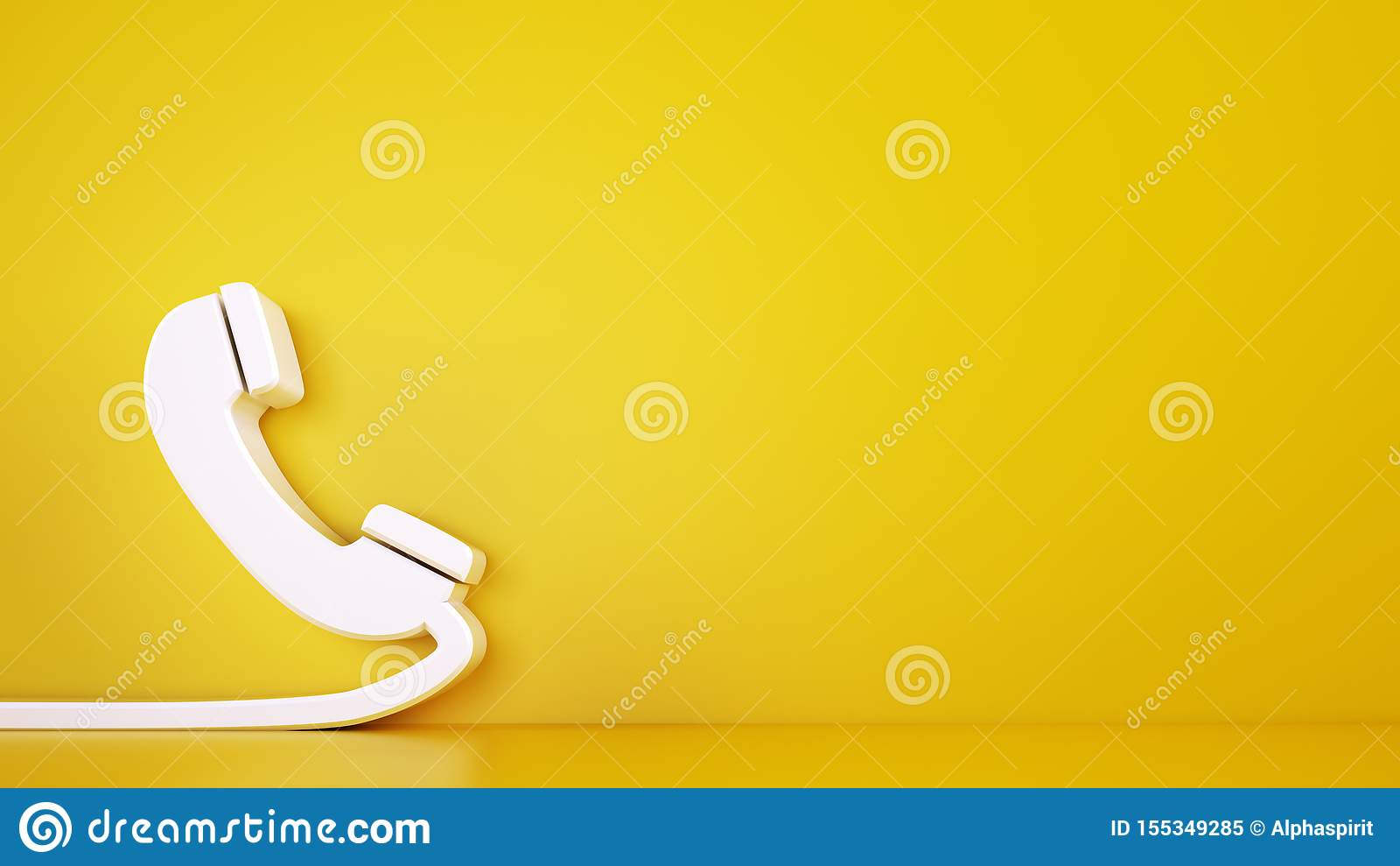 3D icon of a big telephone handset on yellow background. Rendering