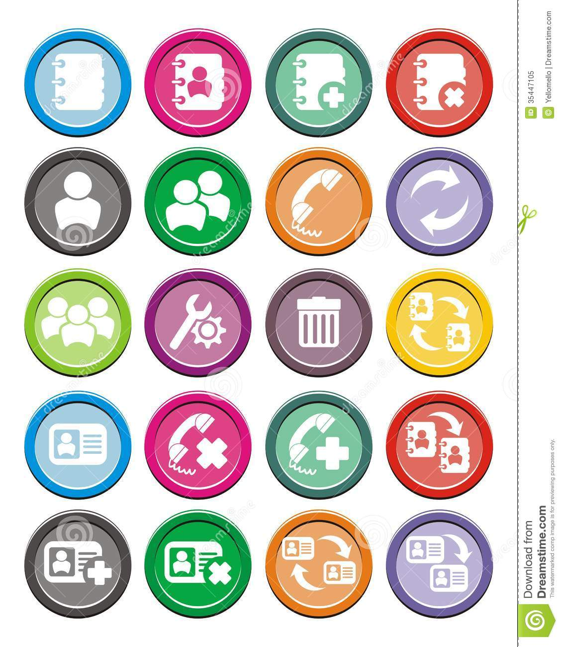 Contact Round Icon Sets Royalty Free Stock Photo - Image ...
