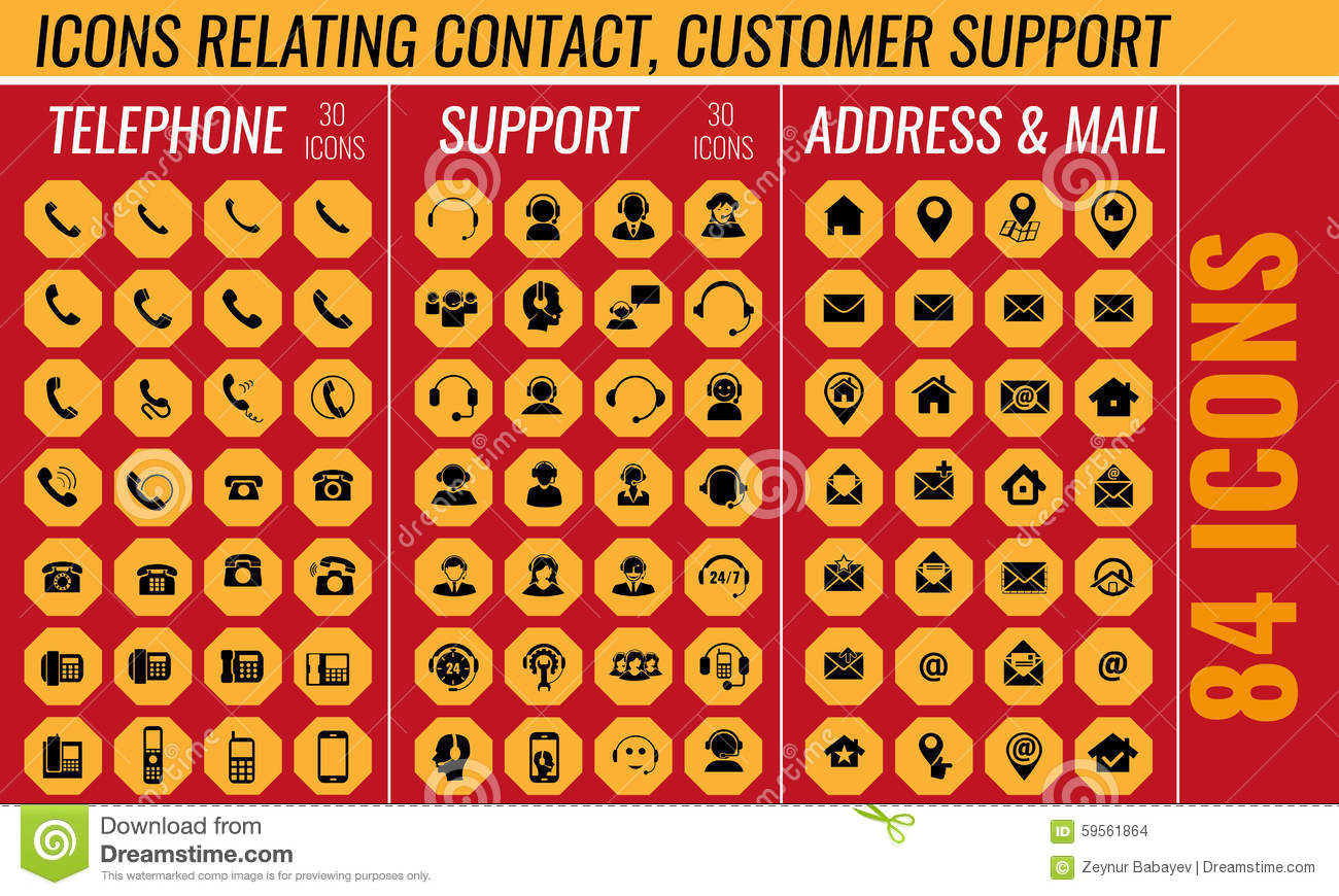 Contact And Support Icon Set In Vector Stock Vector