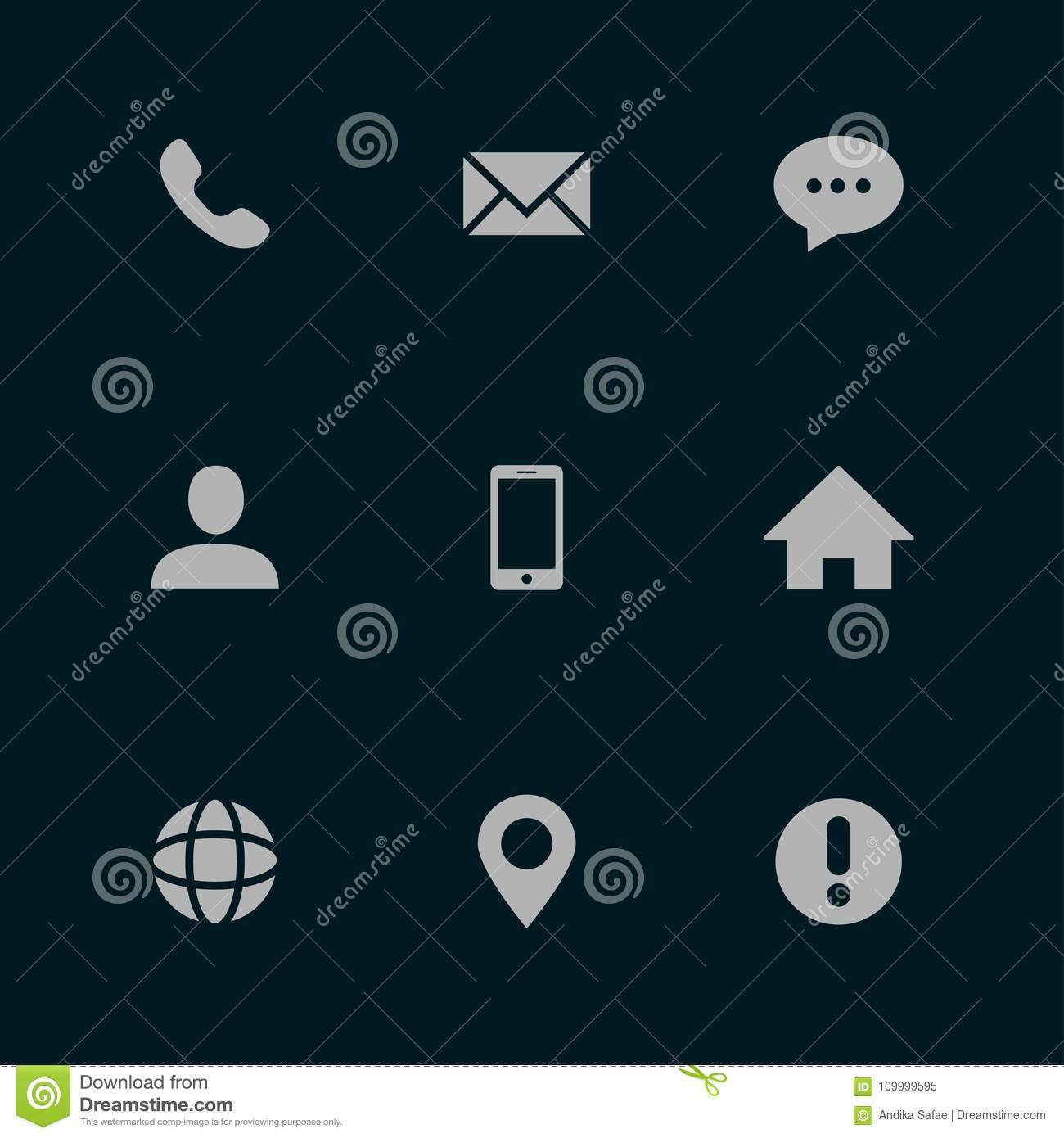 Contact Us And Business Card Icons Stock Vector Set White On Grey Background
