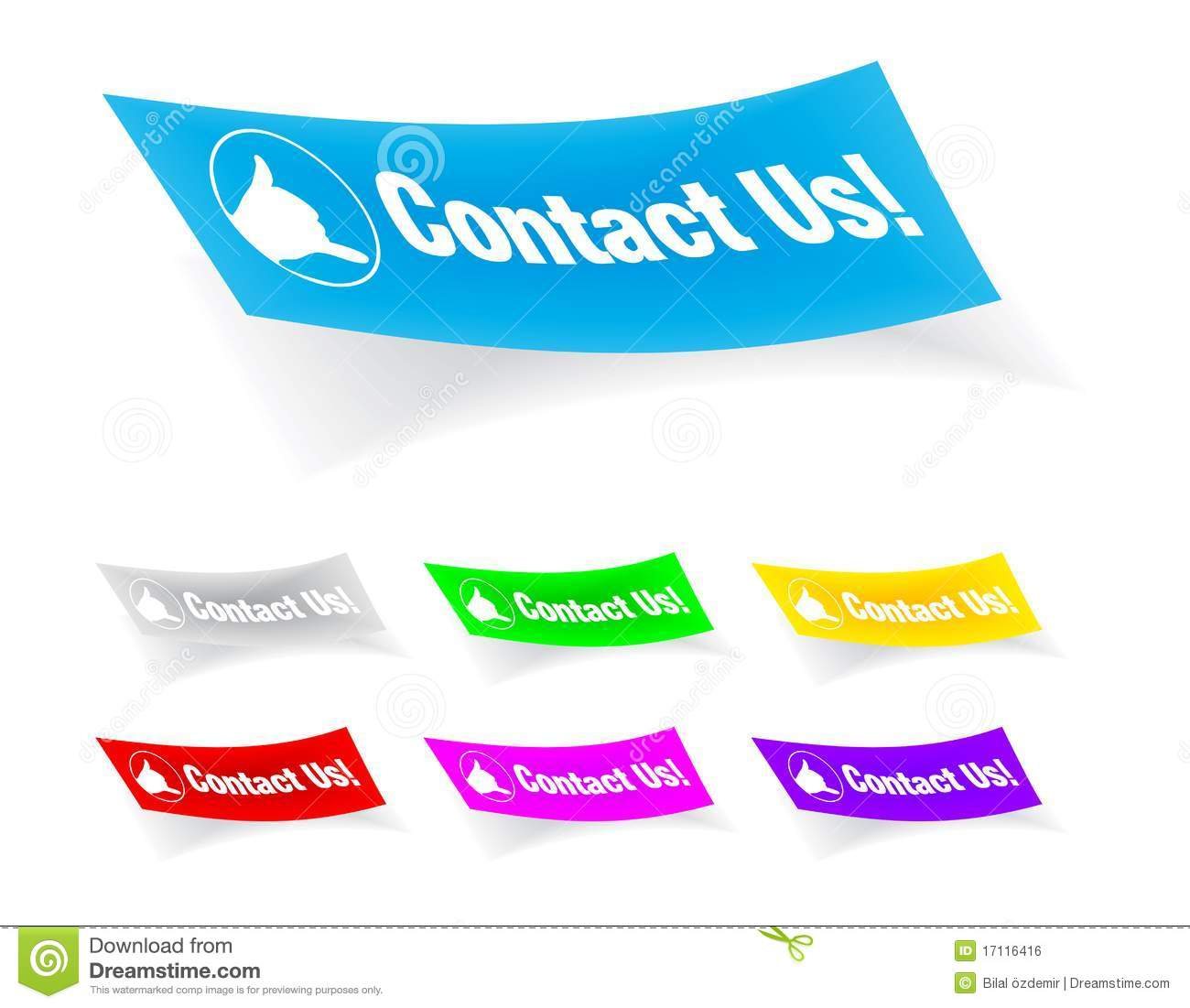 Contact us icon on the sticker easy editable