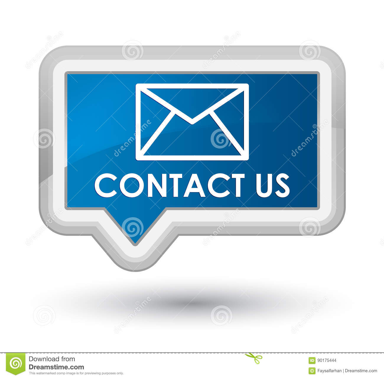 Contact Email: Contact Us (email Icon) Prime Blue Banner Button Stock