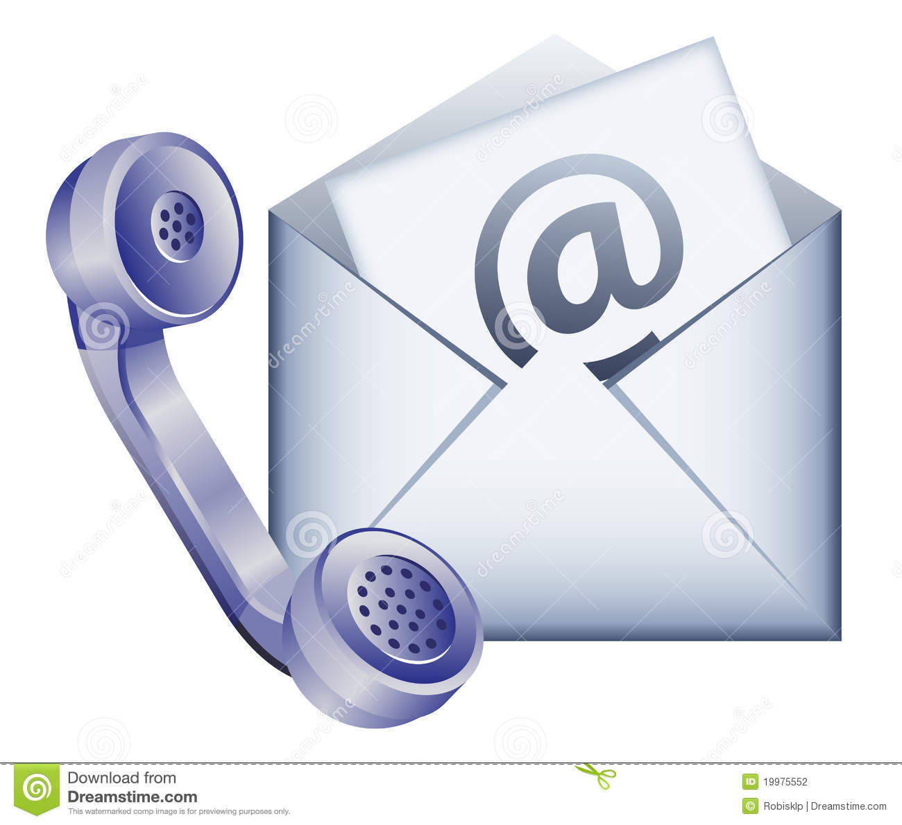 Phone receiver and envelope - contact us by email icon.