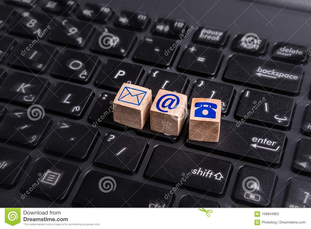 Contact Us Icons Stock Image Image Of Banner Laptop 108844963
