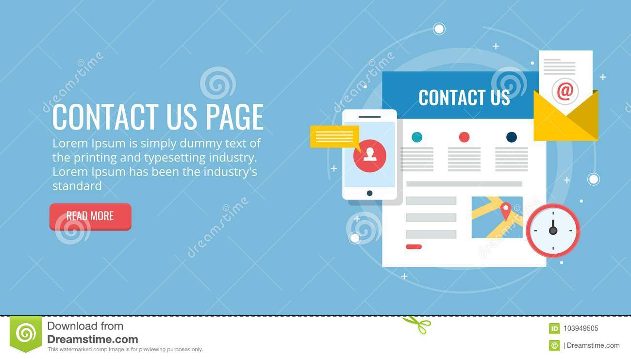 Contact Us Page Inquiry Form Email Contact Map Concept Flat - Us-flat-map