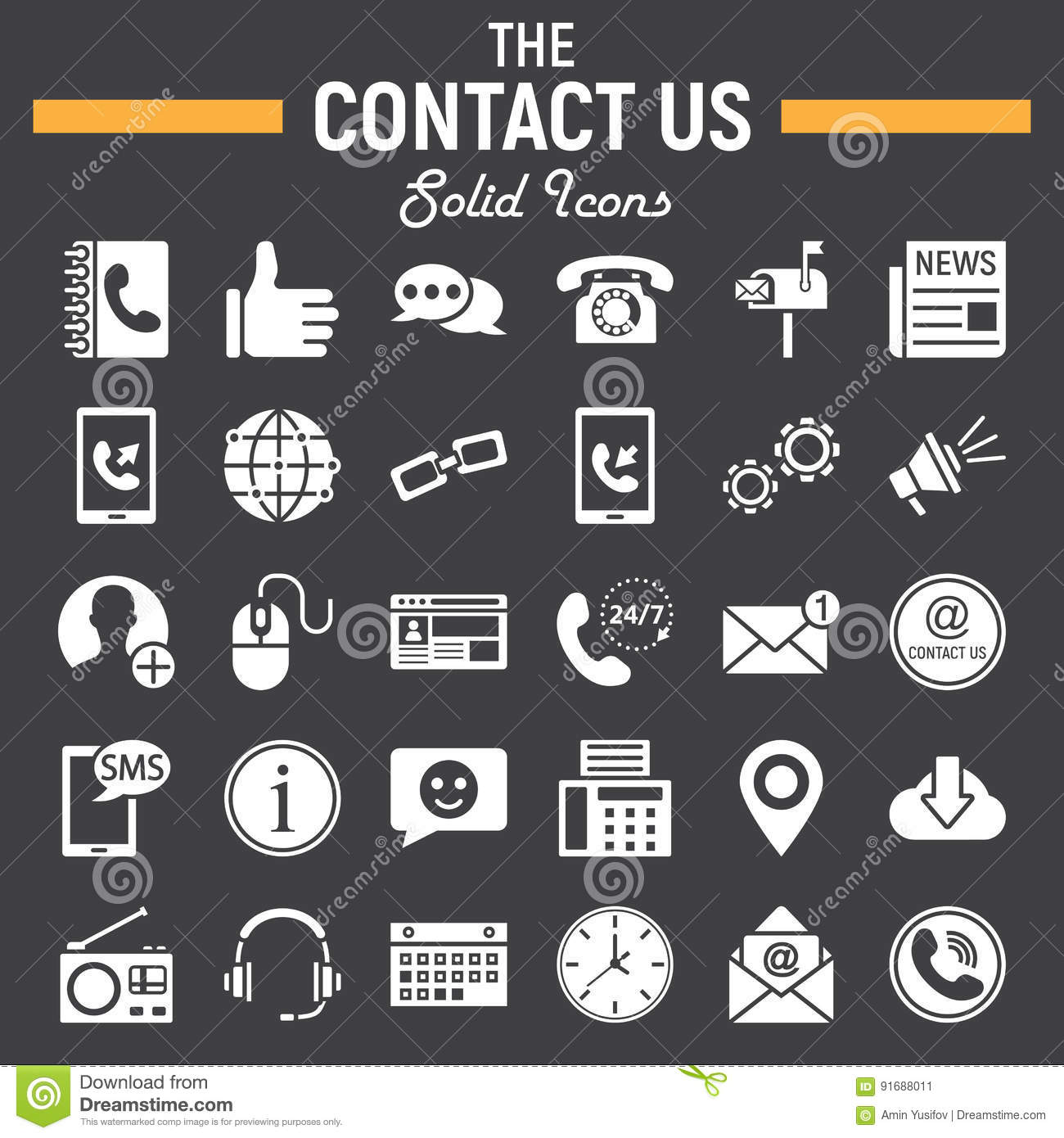 Contact Us Solid Icon Set Web Button Signs Stock Vector