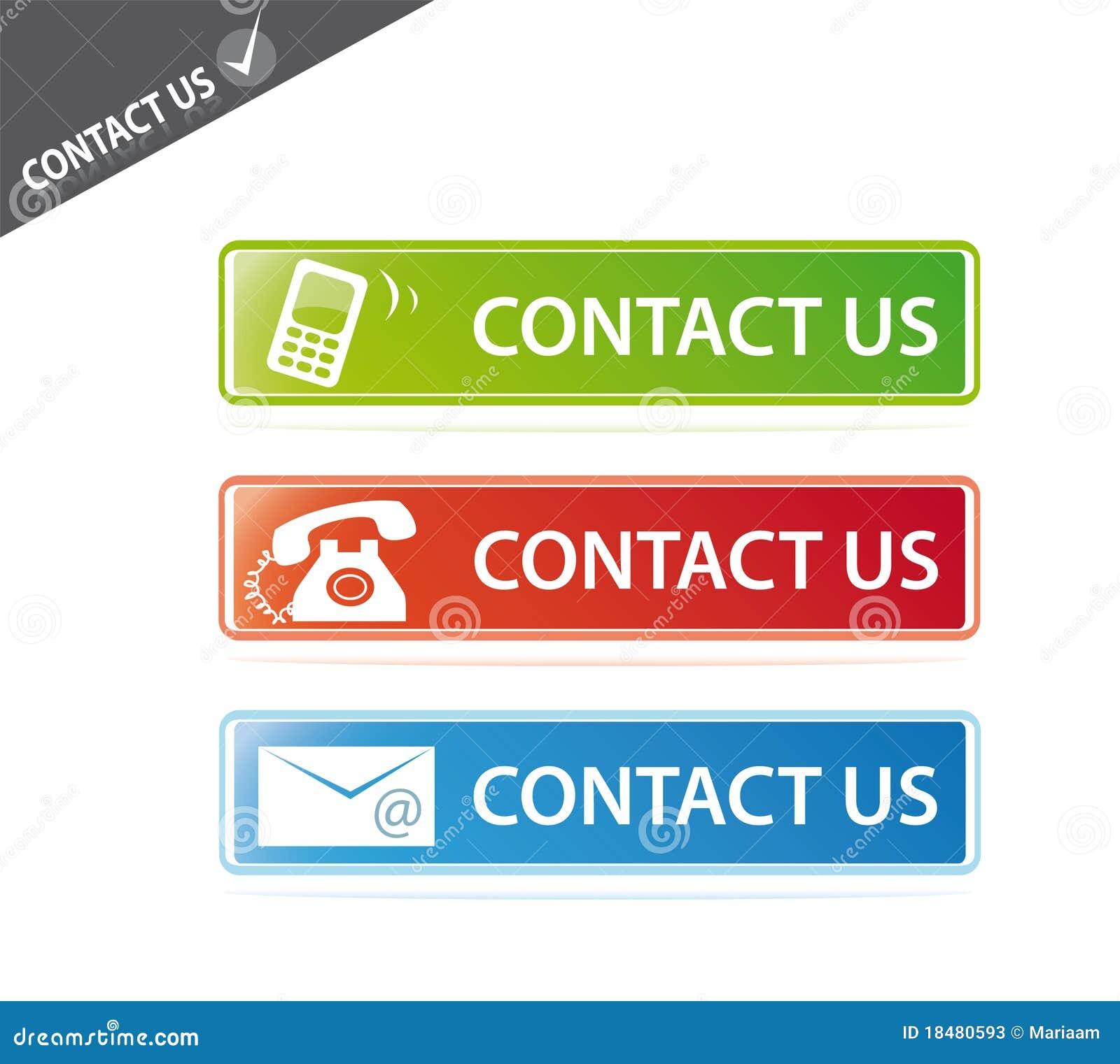 Contact Us: Contact Us Website Buttons Stock Photos