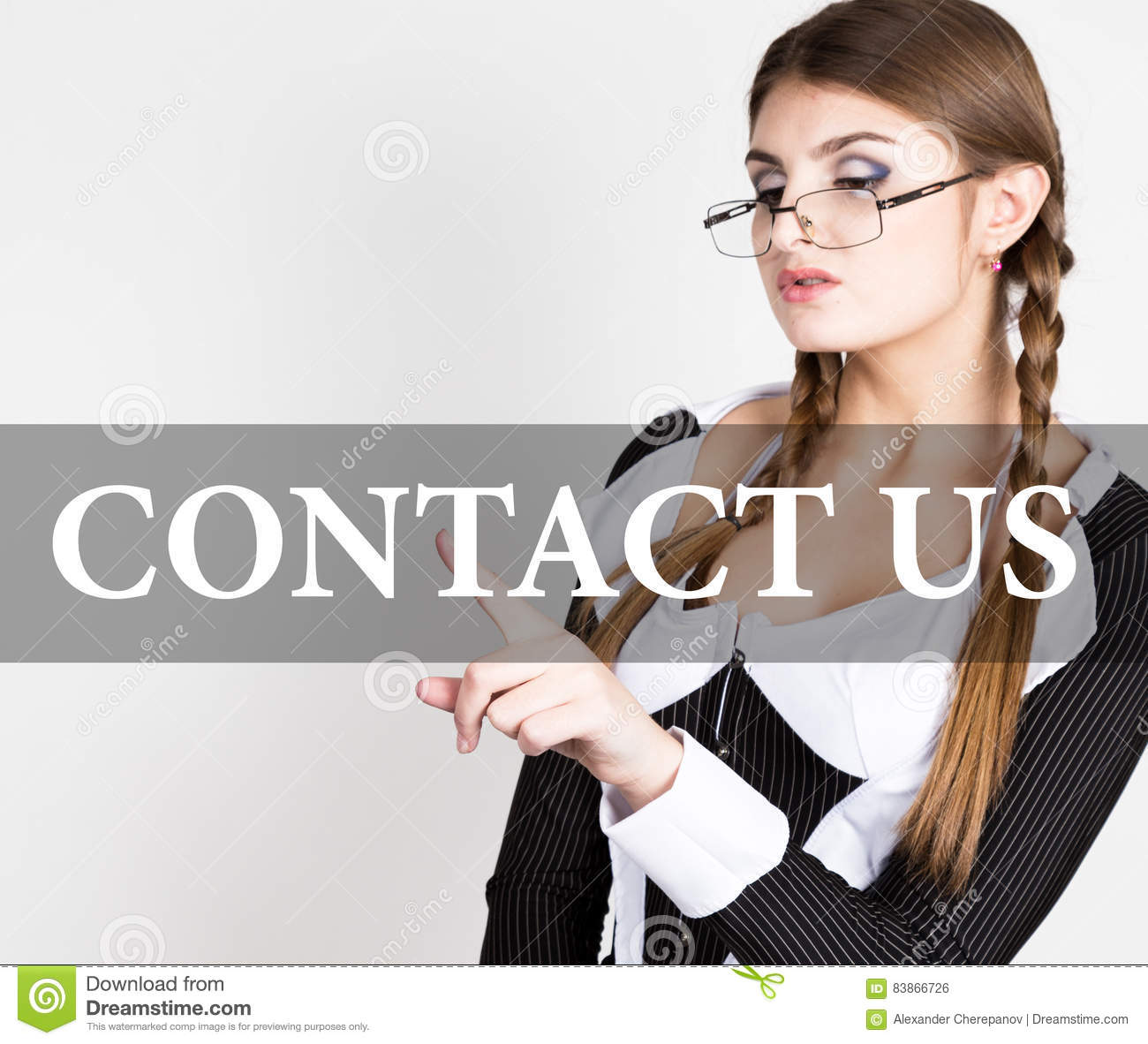 Contact Us Written On Virtual Screen Secretary In A Business Suit