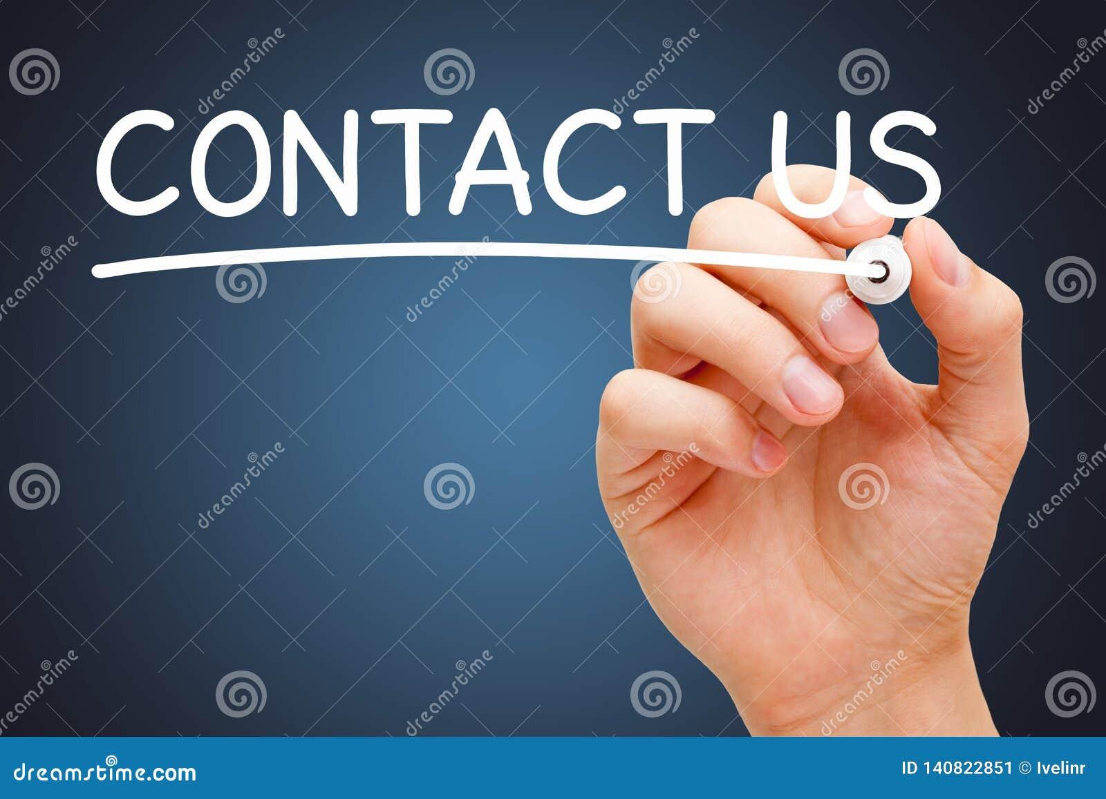 Contactez-nous manuscrits avec le marqueur blanc