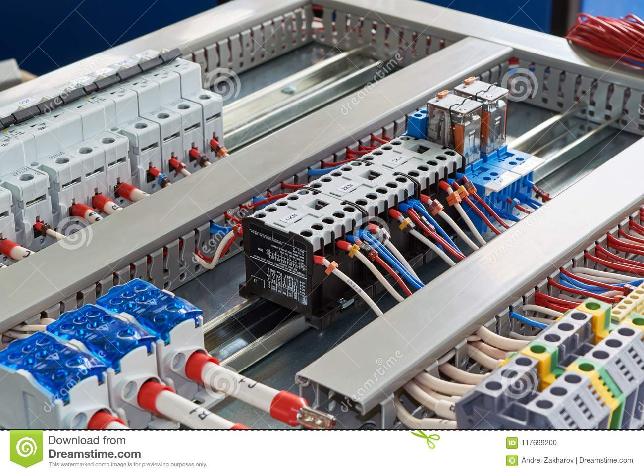 Contactors Relays Circuit Breakers And Terminals In The Electrical Relay Breaker Cabinet