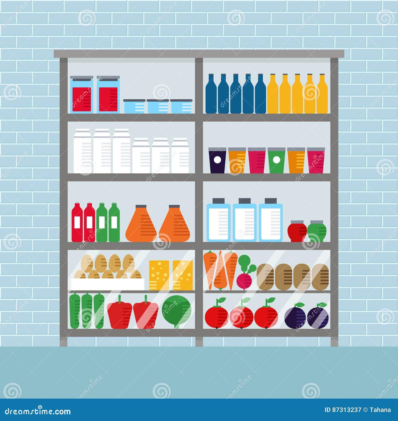 contador con la comida en revista diseo interior del ejemplo plano del vector del mercado