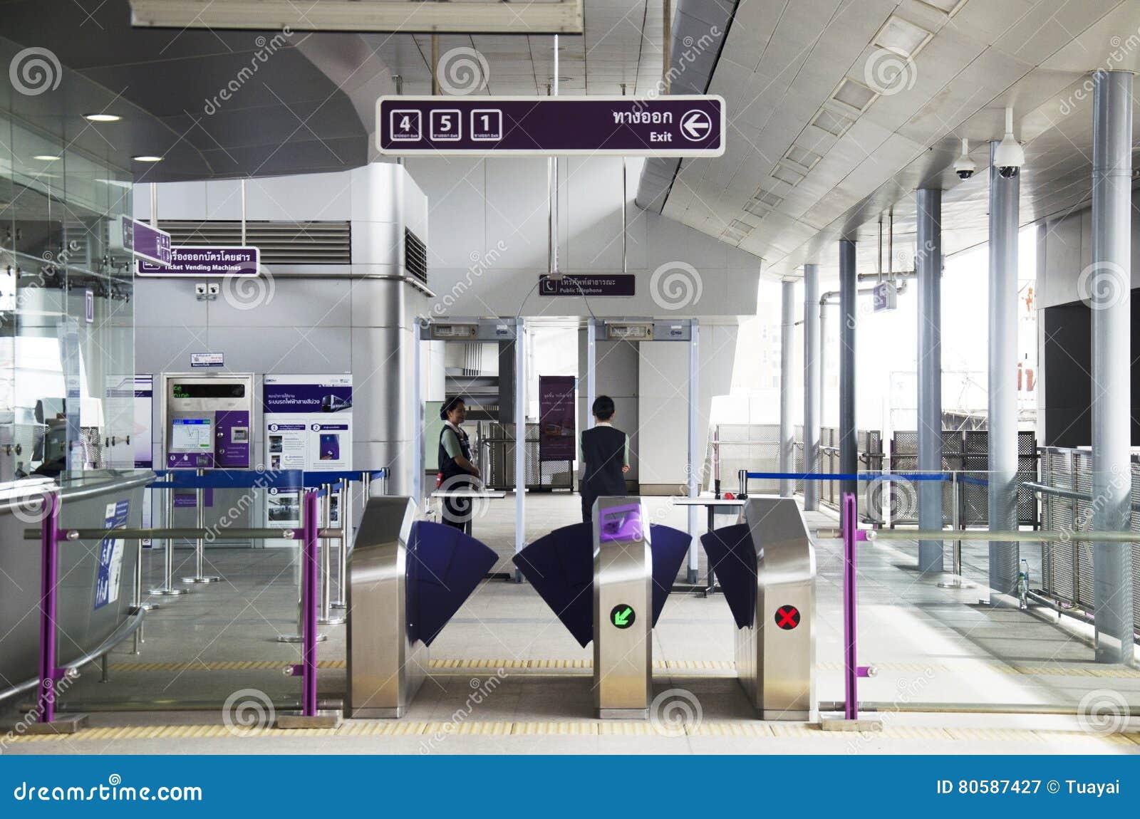 Contador de bilhete e porta da autoridade maciça do trânsito rápido de Thail