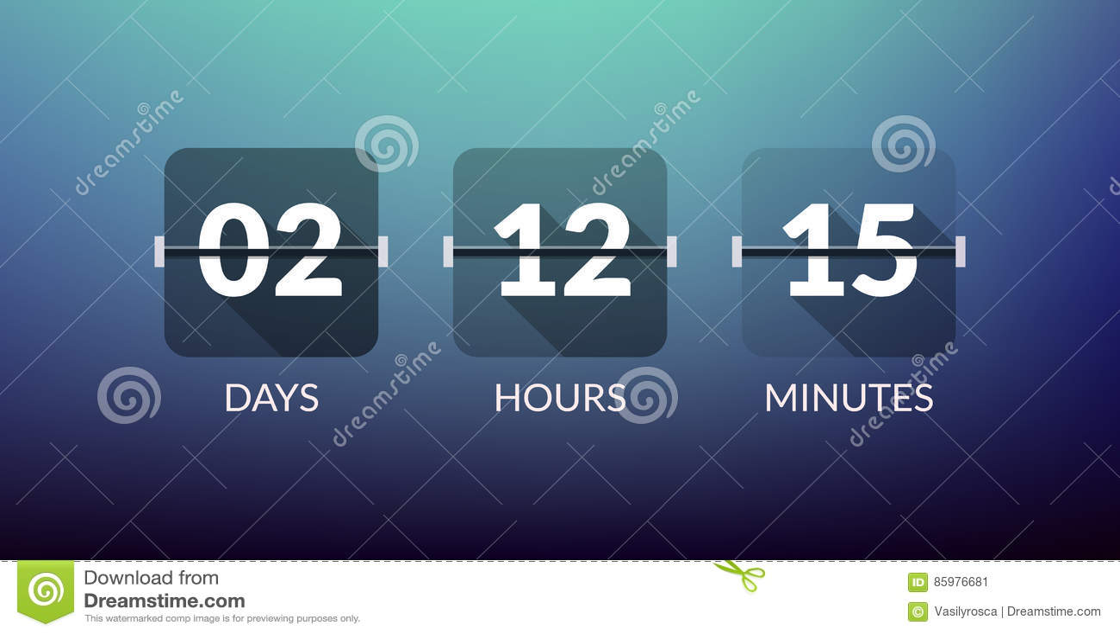 Contador de pulso de disparo do vetor do temporizador de Flip Countdown Da contagem sinal liso do negócio do vetor do dia para ba