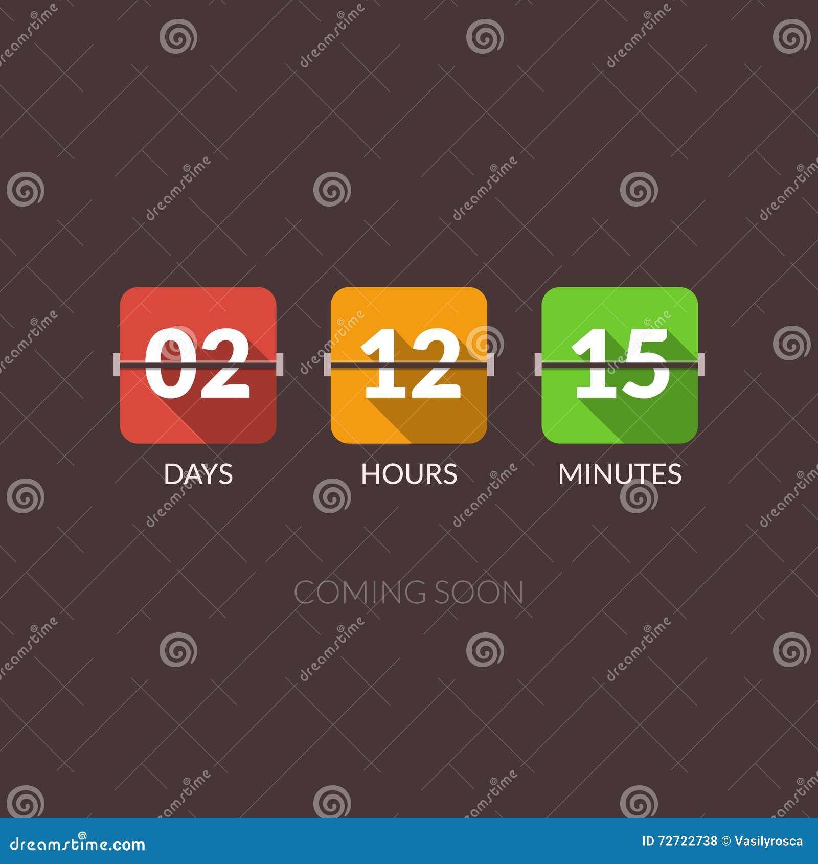 Contador de reloj del vector del contador de tiempo de Flip Countdown Estilo plano