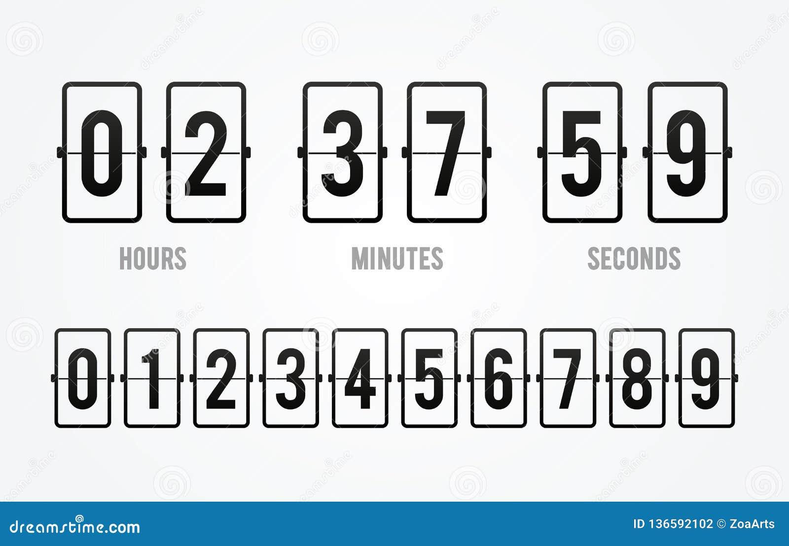 Contador de tiempo del contador de reloj de la cuenta descendiente del tablero del tirón del vector Marcador de la hora, de minut