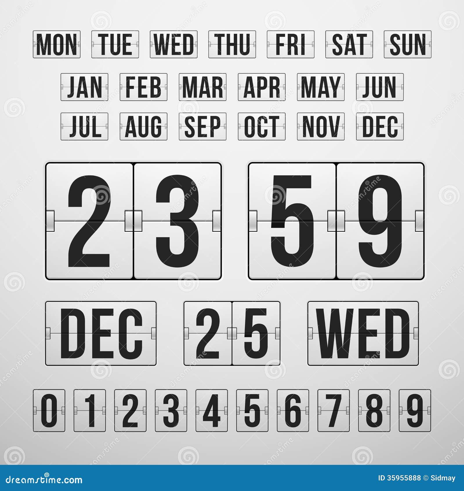 Contador de tiempo y fecha, marcador de la cuenta descendiente del calendario