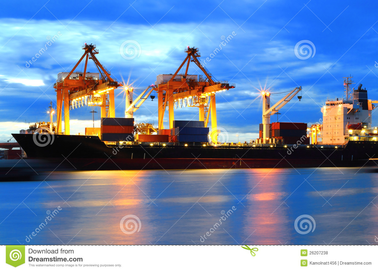 Container Cargo freight ship with working