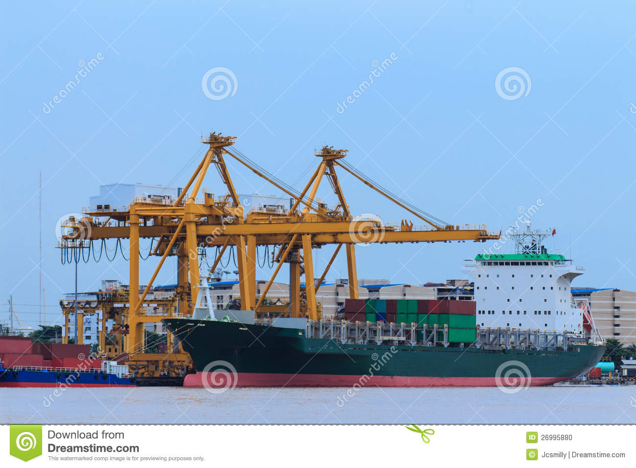 Container Cargo Freight Ship With Working Crane Br Stock Photo Image 26995880