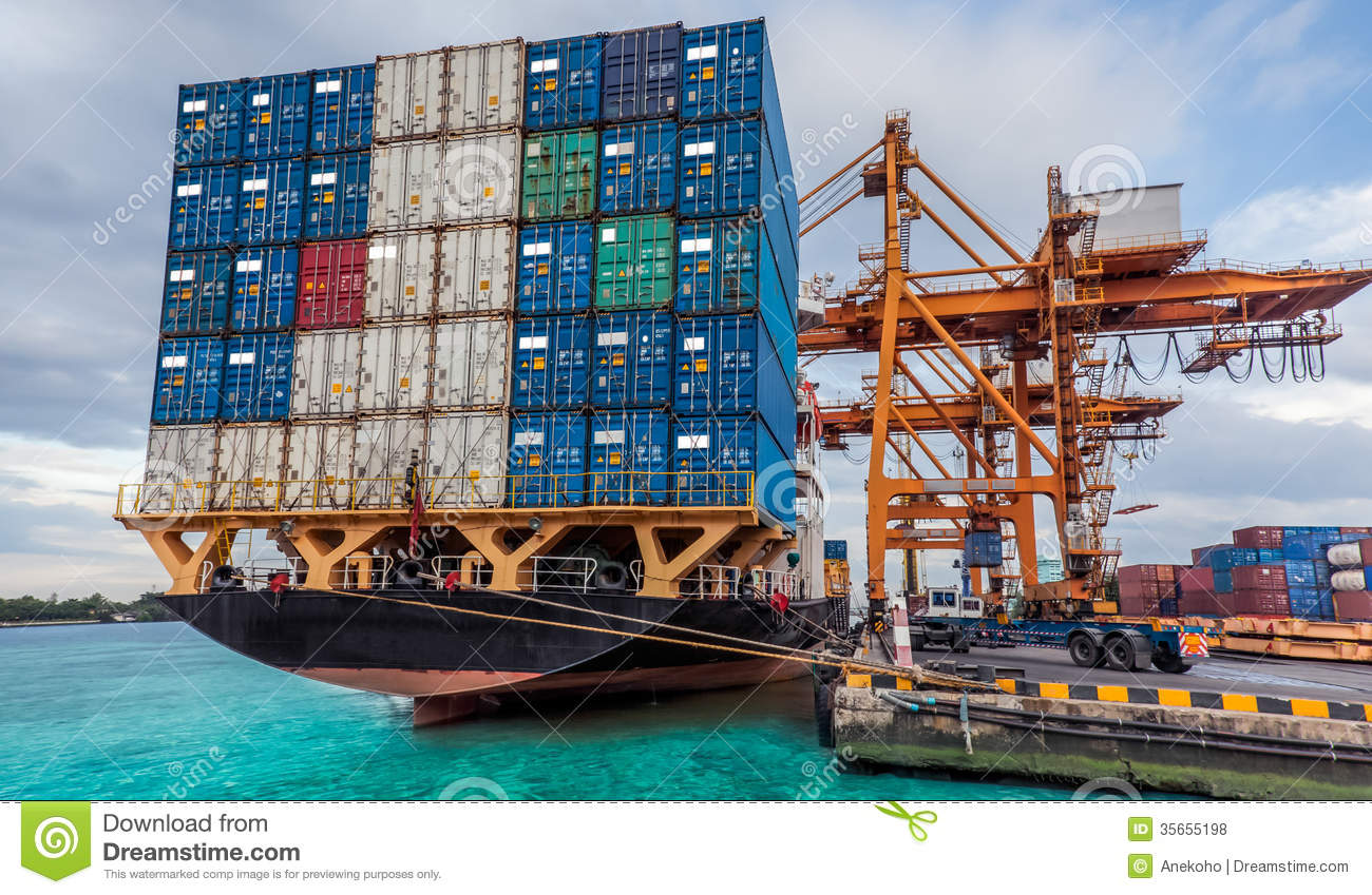 Container Cargo Freight Ship With Working Crane Loading Royalty ...