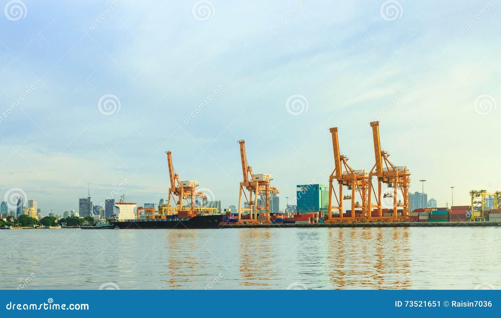 Container Cargo Freight Working Crane Bridge In Bangkok