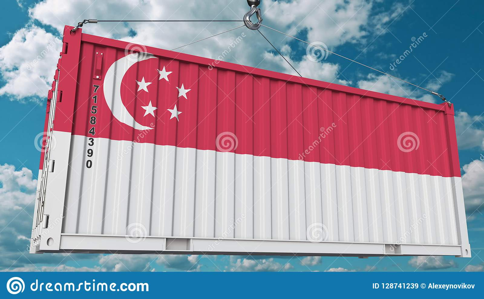 Container with flag of Singapore. Singaporean import or export related conceptual 3D rendering