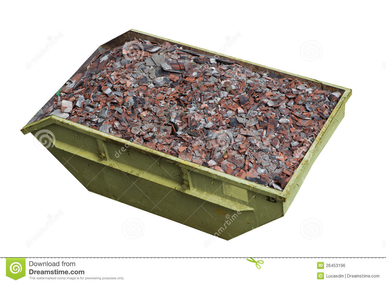 A Container Full Of Construction Debris Stock Photo