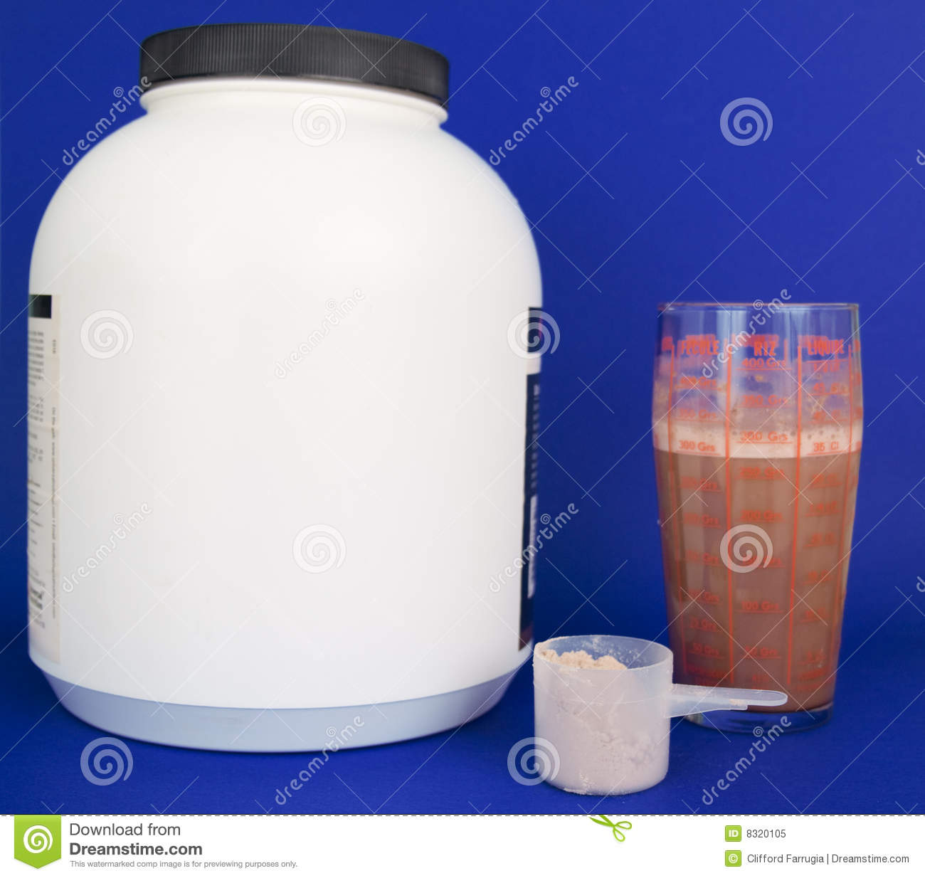 Container glass large protein scoop shake