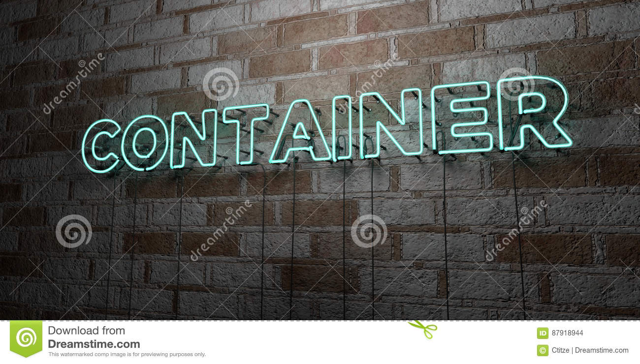 CONTAINER - Glowing Neon Sign on stonework wall - 3D rendered royalty free stock illustration