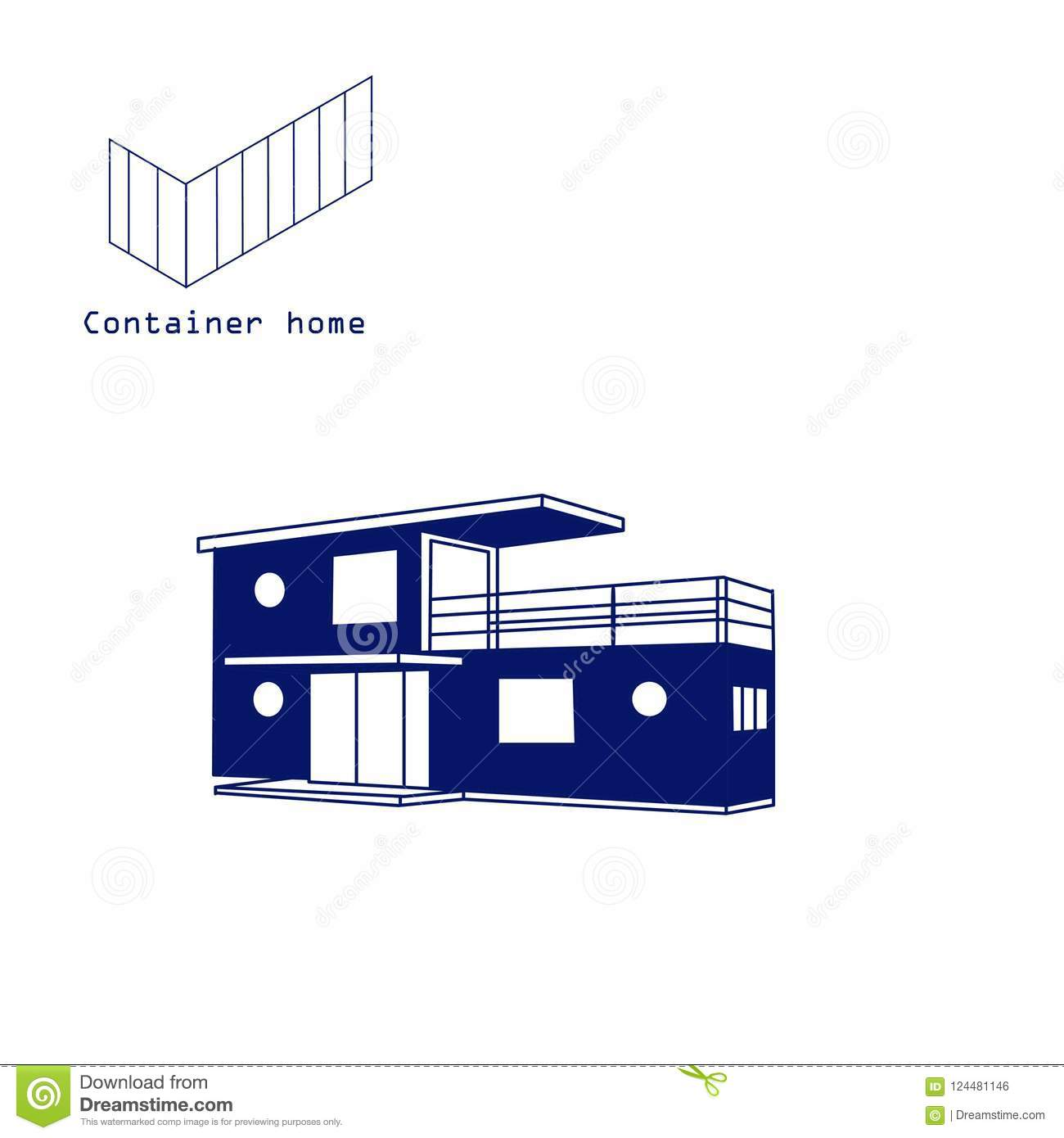Container House Building With Logo Vector Isolated Stock Vector