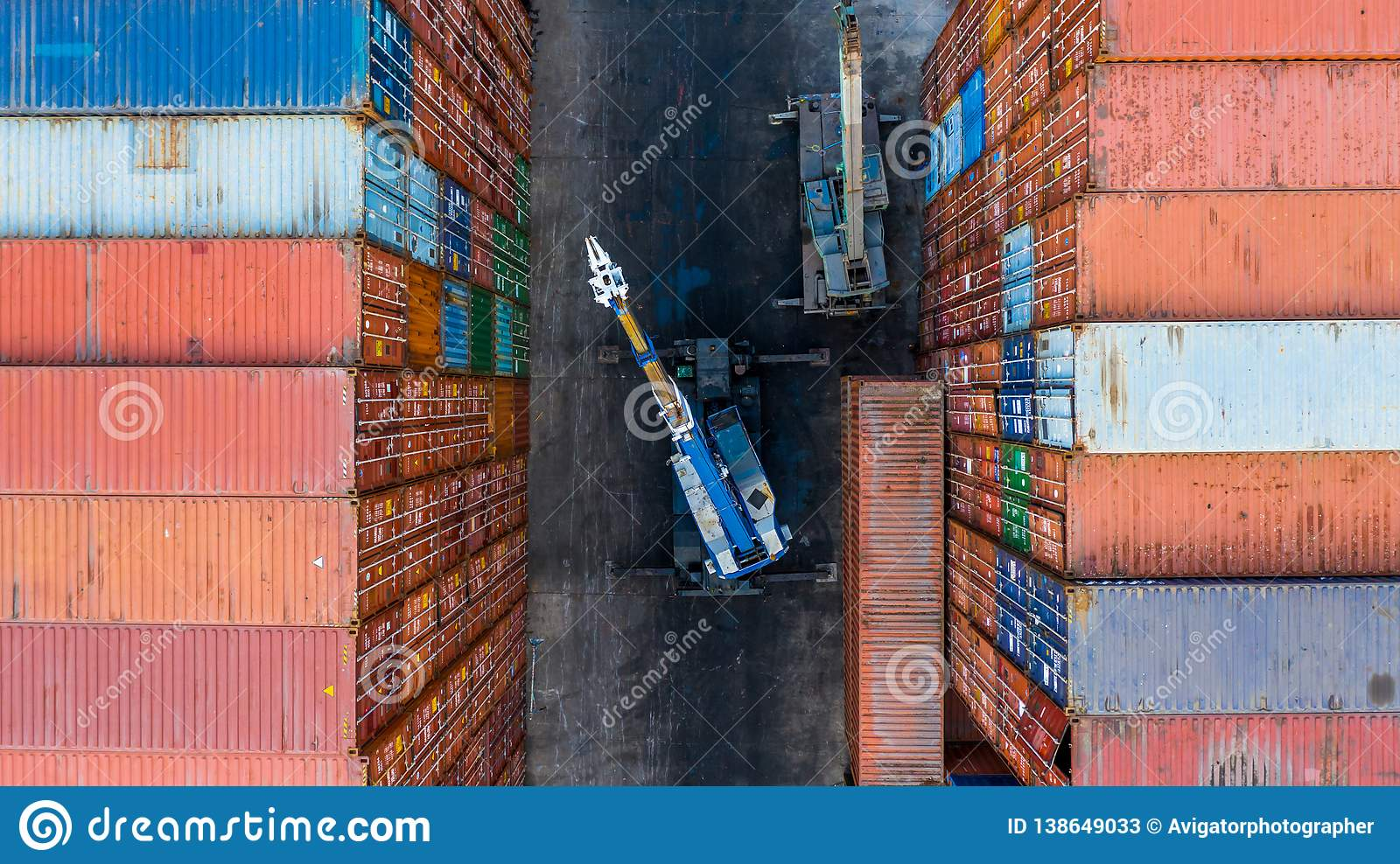Container Loading In Cargo Container In Shipping Yard With