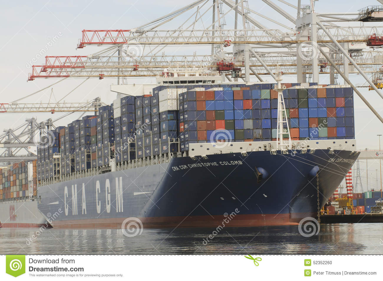 Container Ship Being Unloaded Port Of Southampton UK
