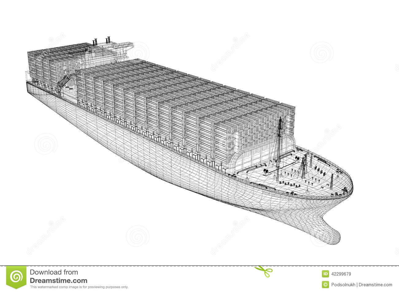 Container ship cargo stock illustration illustration of for Structure container maritime