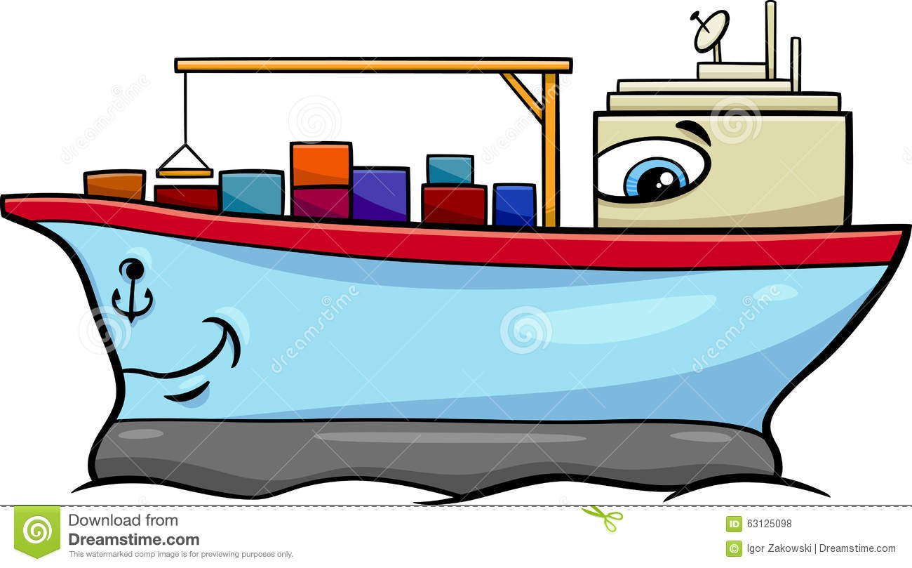 Container Ship Cartoon Character Stock Vector