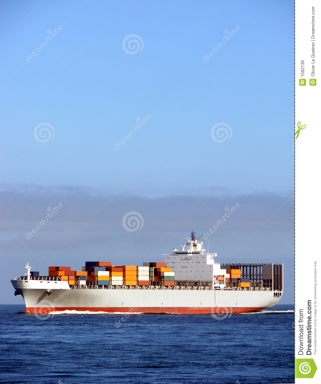 Container Ship with Deck Cargo Load Sailing at Sea