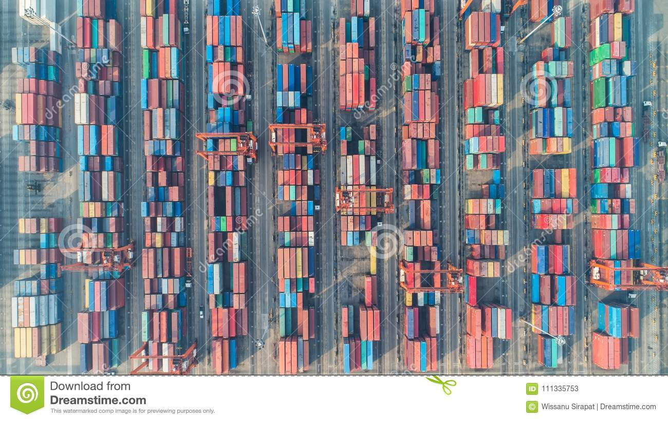 Container ship in export and import business and logistics. Ship