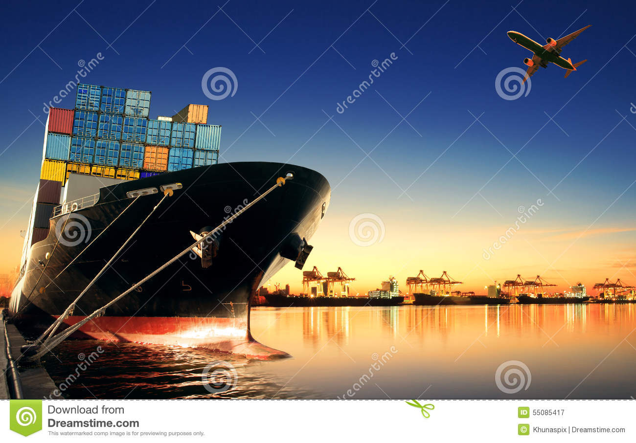 Container Ship In Import,export Port Against Beautiful ...