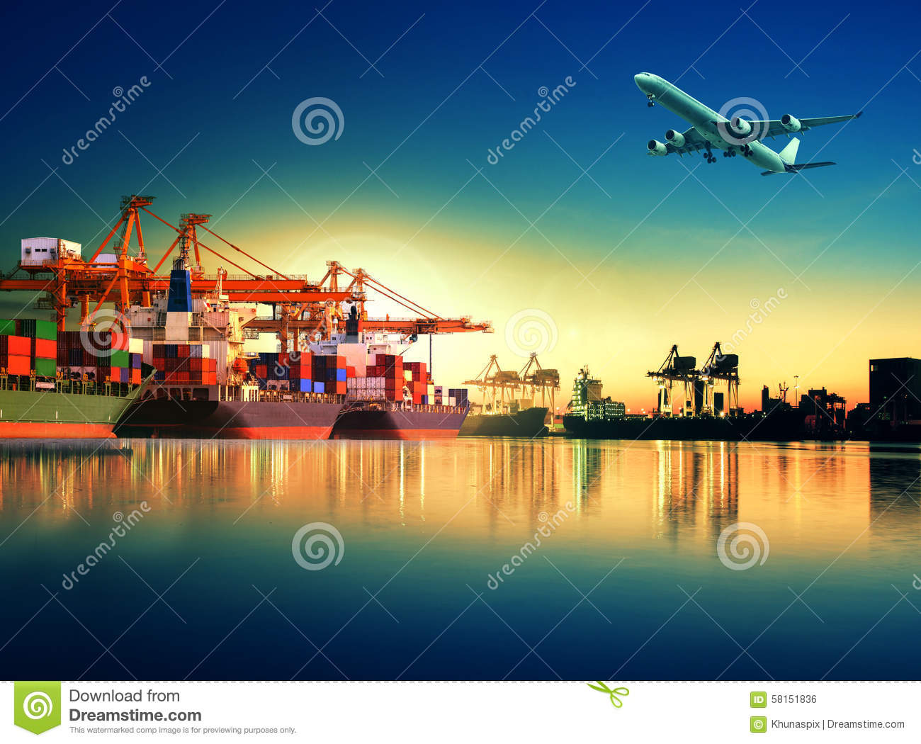 Container ship in import,export port against beautiful morning l