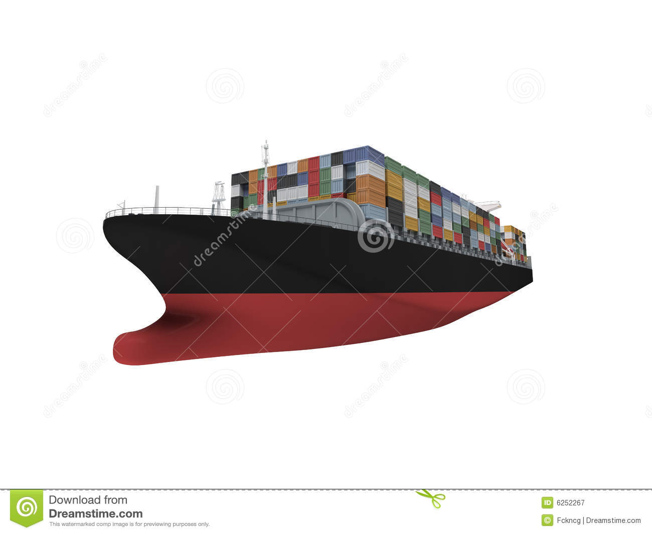 container ship isolated front view royalty free stock
